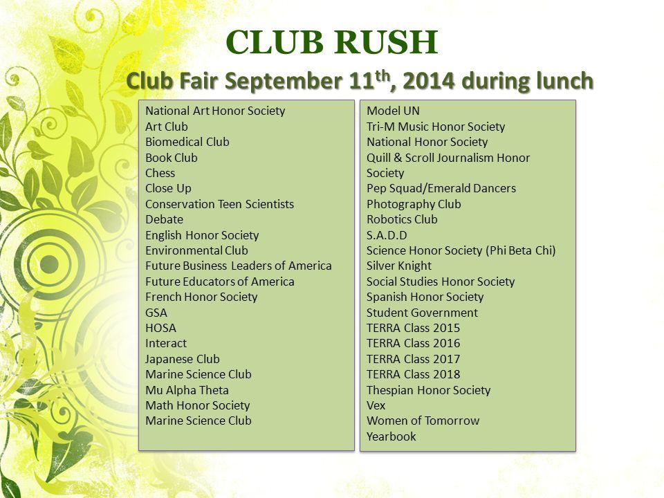 Club Fair September 11th, 2014 during lunch
