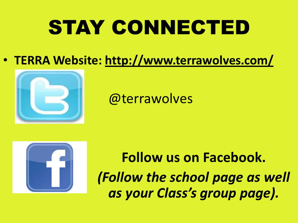 (Follow the school page as well as your Class's group page).