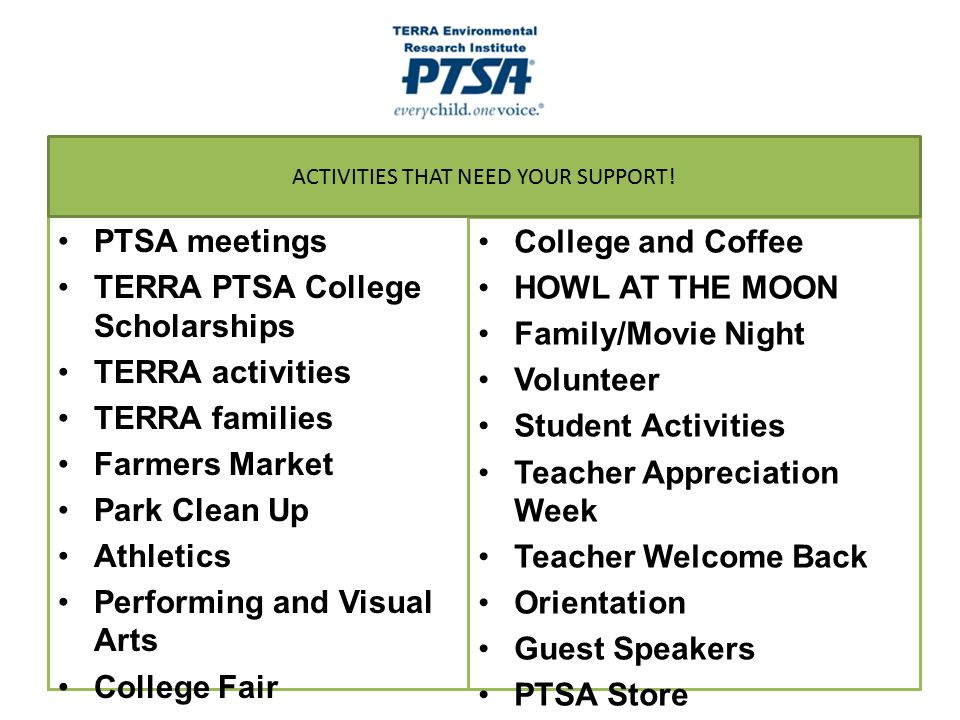ACTIVITIES THAT NEED YOUR SUPPORT!