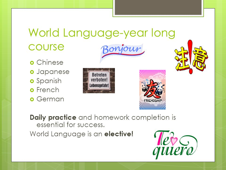 World Language-year long course
