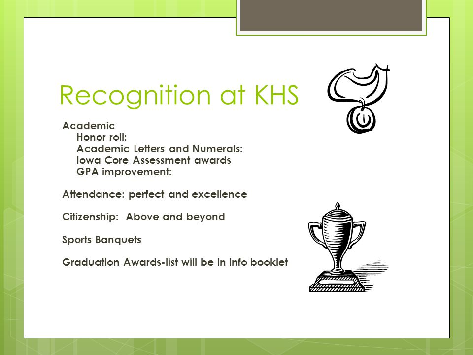 Recognition at KHS