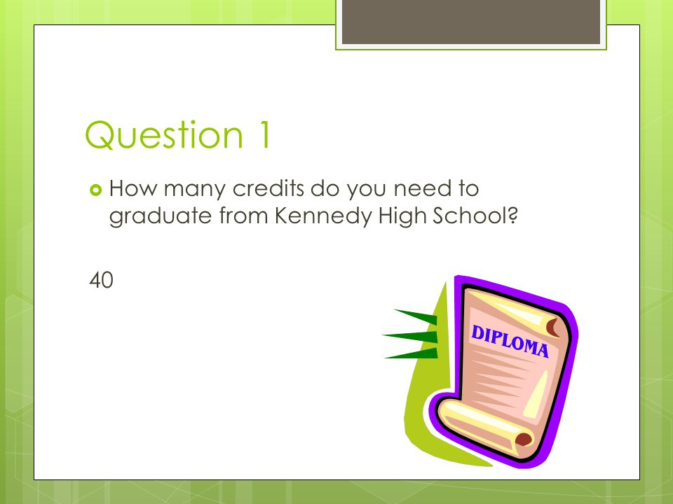 Question 1 How many credits do you need to graduate from Kennedy High School 40
