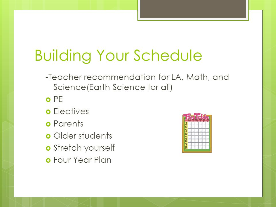 Building Your Schedule
