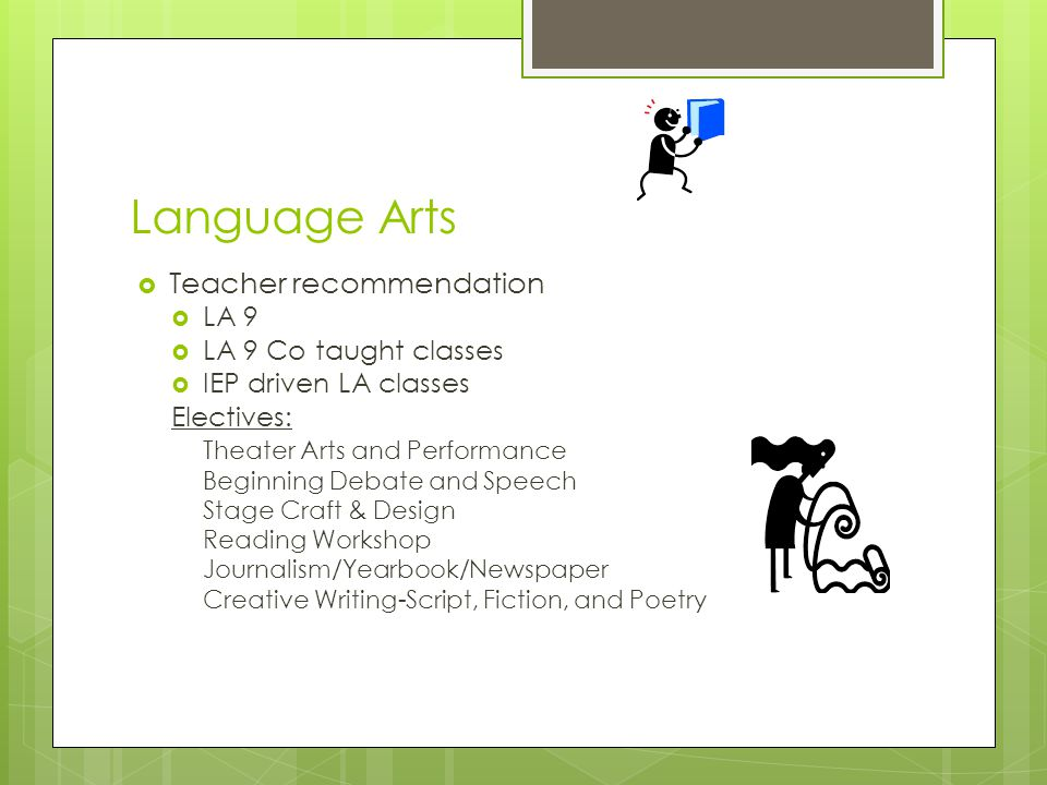 Language Arts Teacher recommendation LA 9 LA 9 Co taught classes
