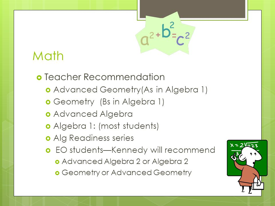 Math Teacher Recommendation Advanced Geometry(As in Algebra 1)
