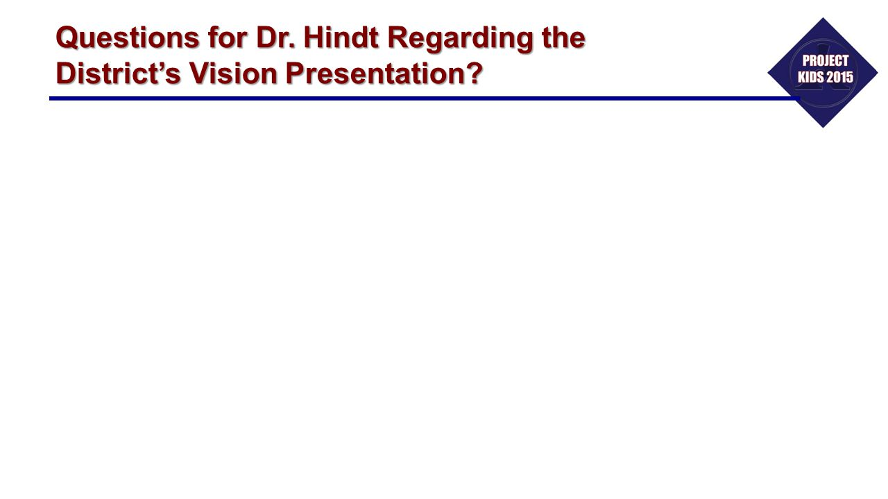 Questions for Dr. Hindt Regarding the District's Vision Presentation