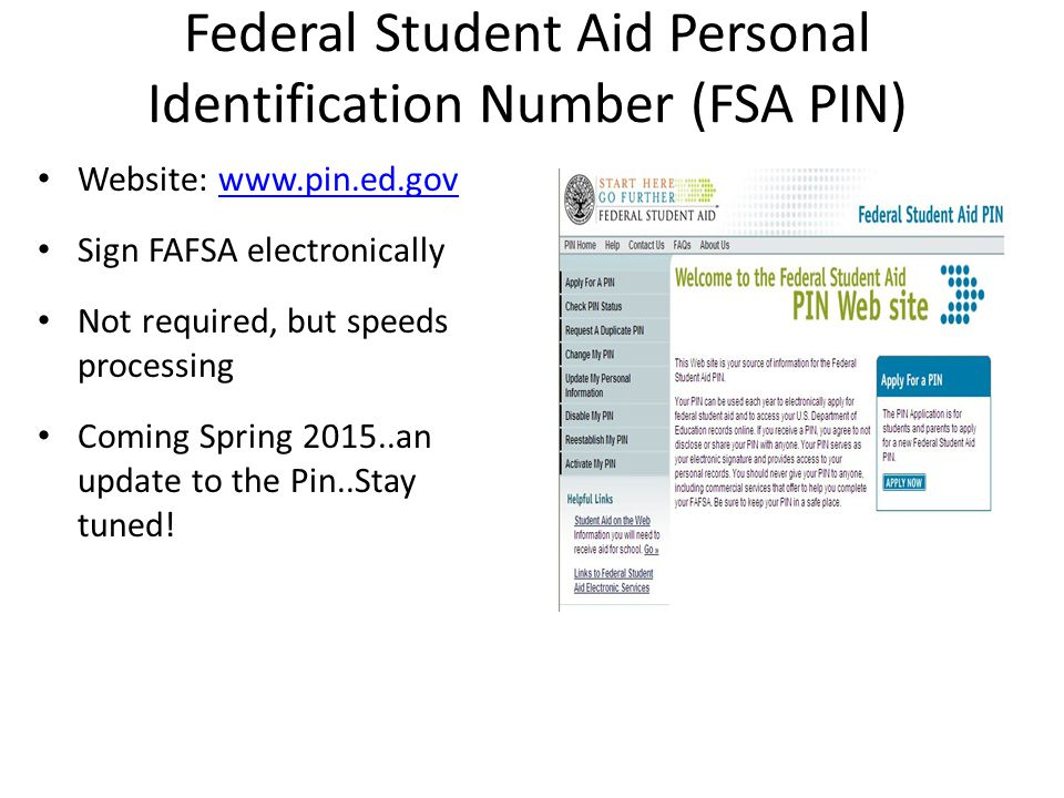 Federal Student Aid Personal Identification Number (FSA PIN)