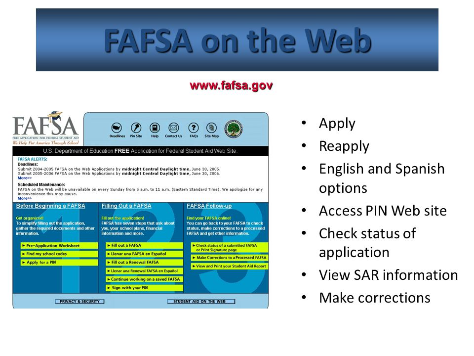 FAFSA on the Web Apply Reapply English and Spanish options