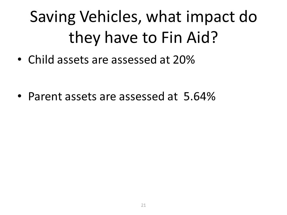 Saving Vehicles, what impact do they have to Fin Aid