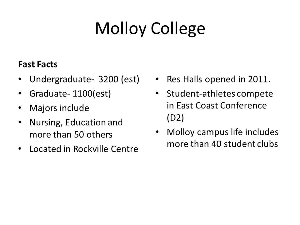 Molloy College Fast Facts Undergraduate- 3200 (est)