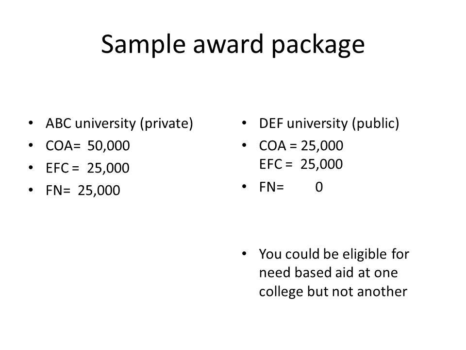 Sample award package ABC university (private) COA= 50,000 EFC = 25,000
