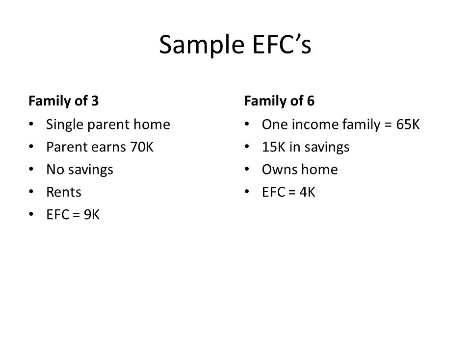 Sample EFC's Family of 3 Family of 6 Single parent home