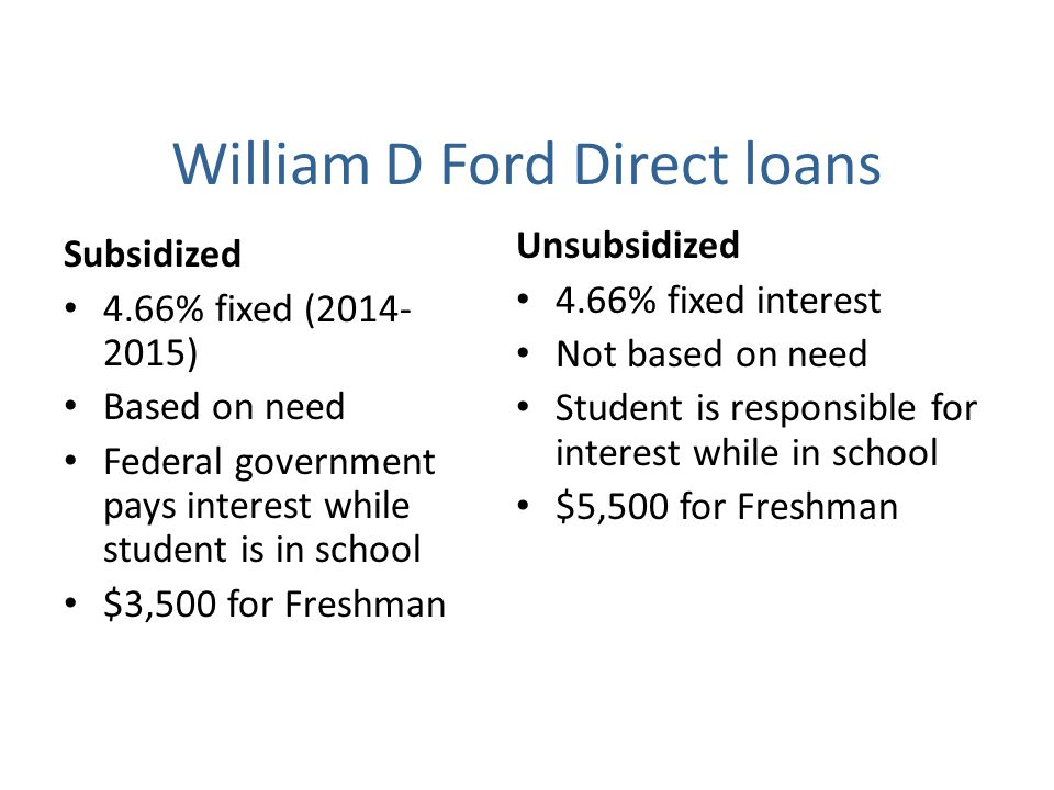 William D Ford Direct loans