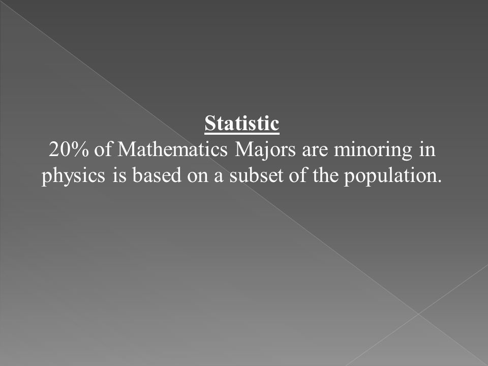 Statistic 20% of Mathematics Majors are minoring in physics is based on a subset of the population.