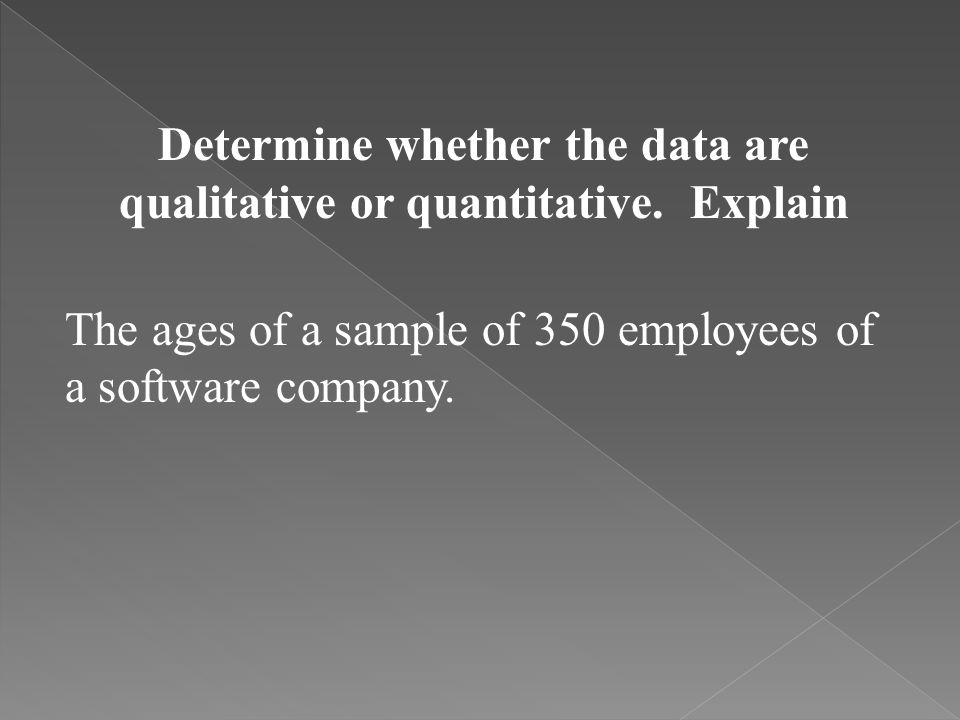 Determine whether the data are qualitative or quantitative. Explain