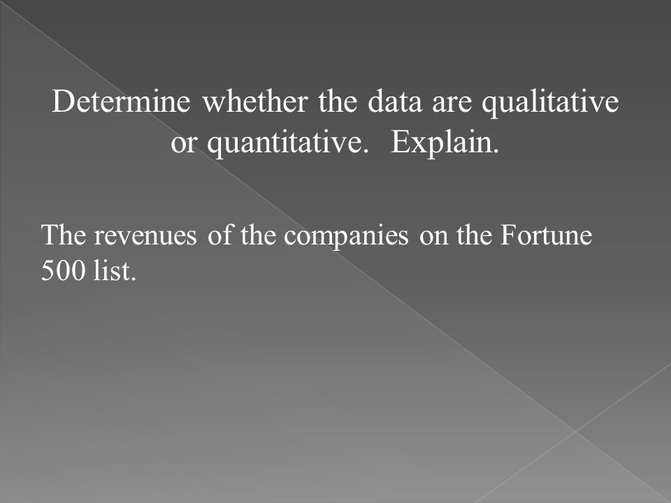 Determine whether the data are qualitative or quantitative. Explain.