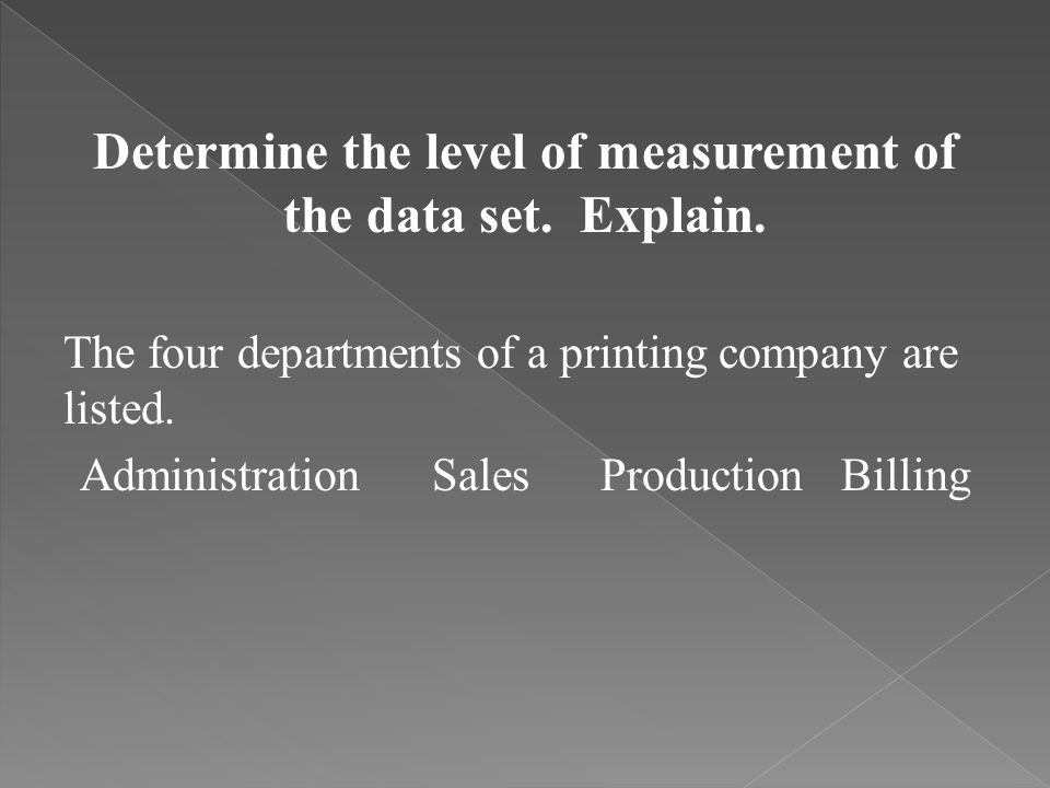 Determine the level of measurement of the data set. Explain.