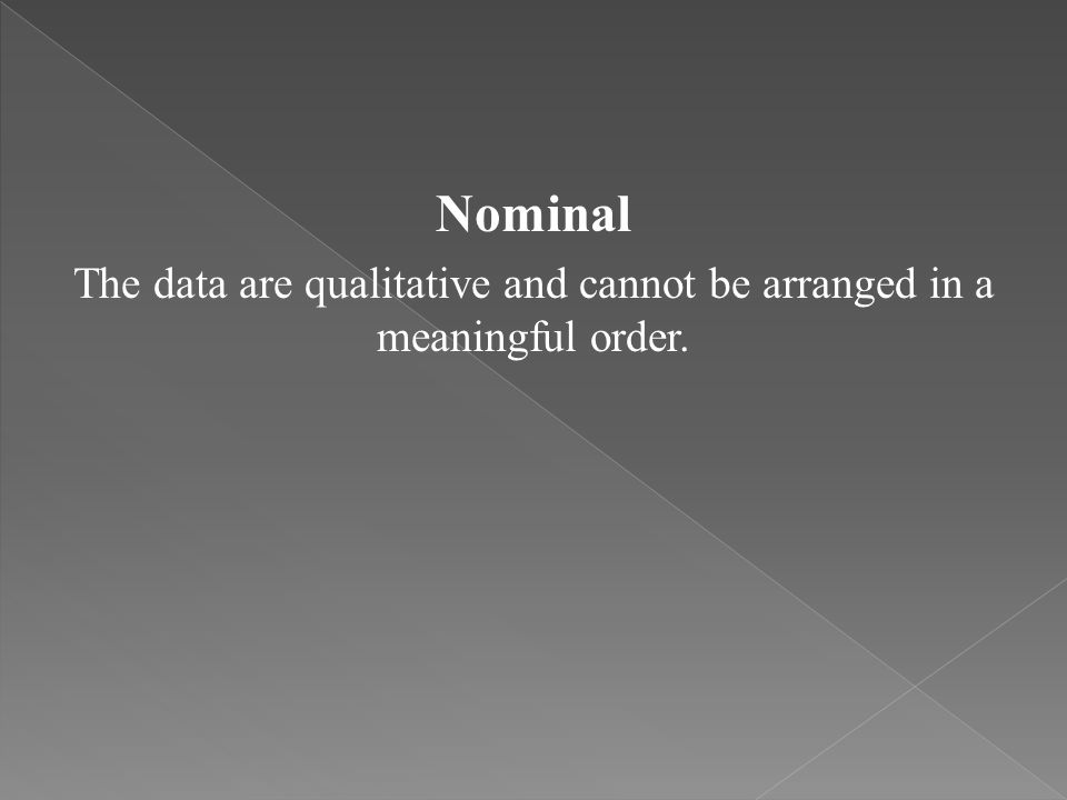 The data are qualitative and cannot be arranged in a meaningful order.