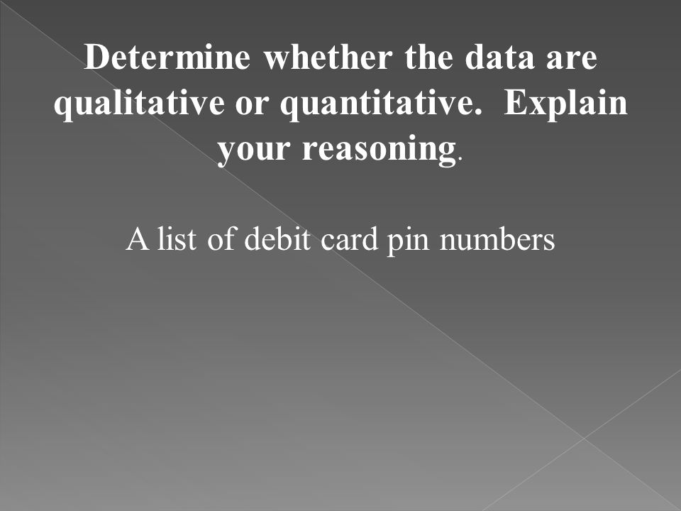 A list of debit card pin numbers