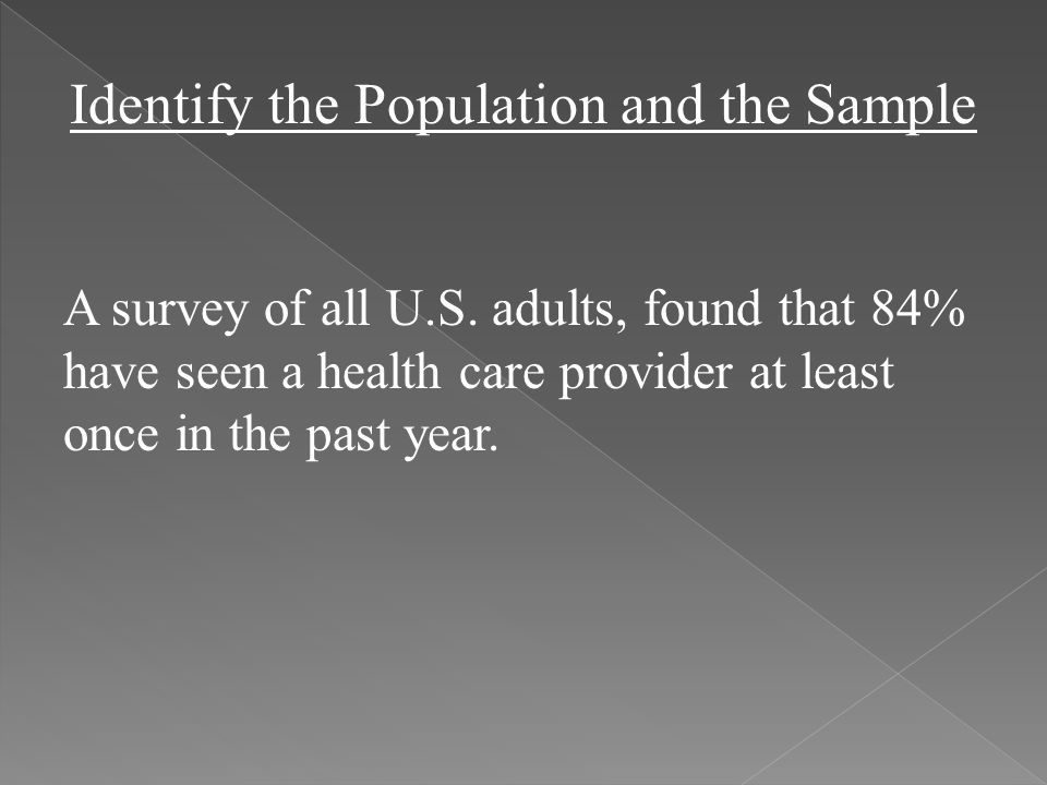 Identify the Population and the Sample