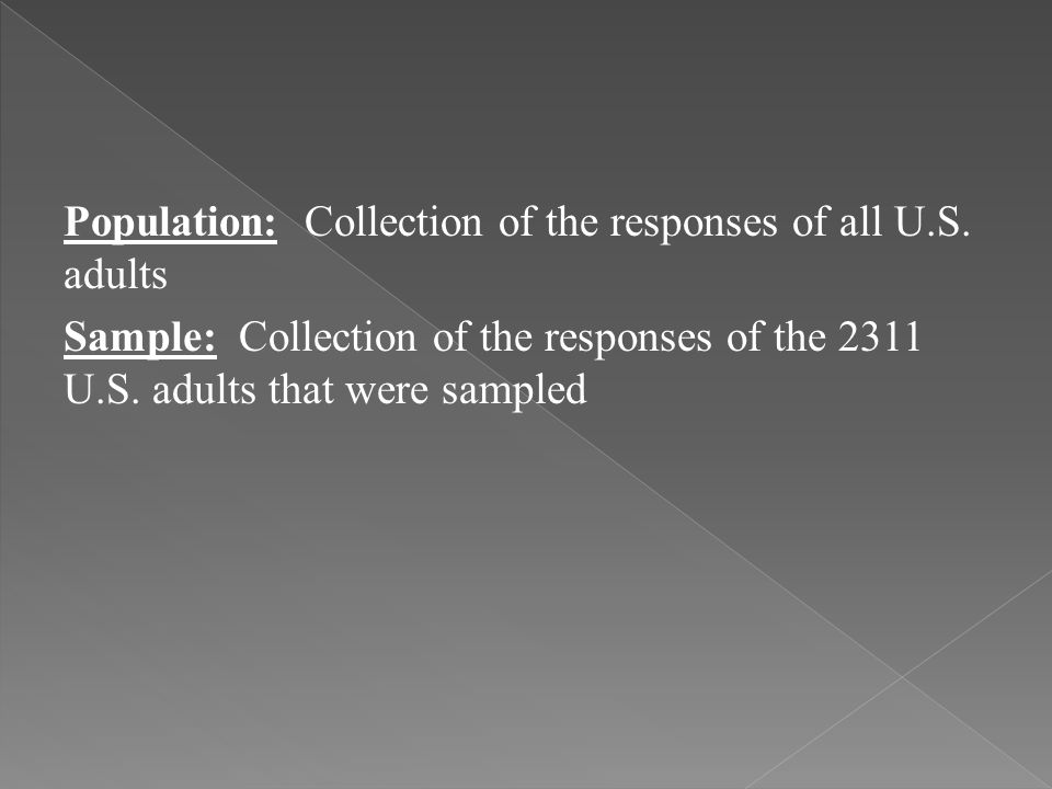 Population: Collection of the responses of all U. S
