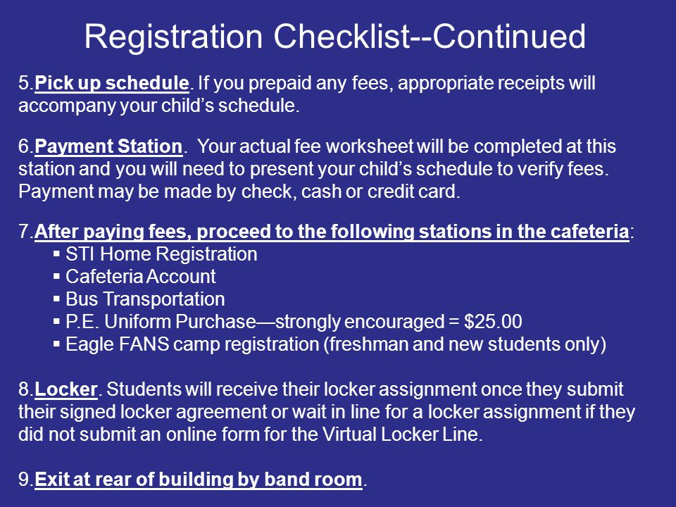 Registration Checklist--Continued
