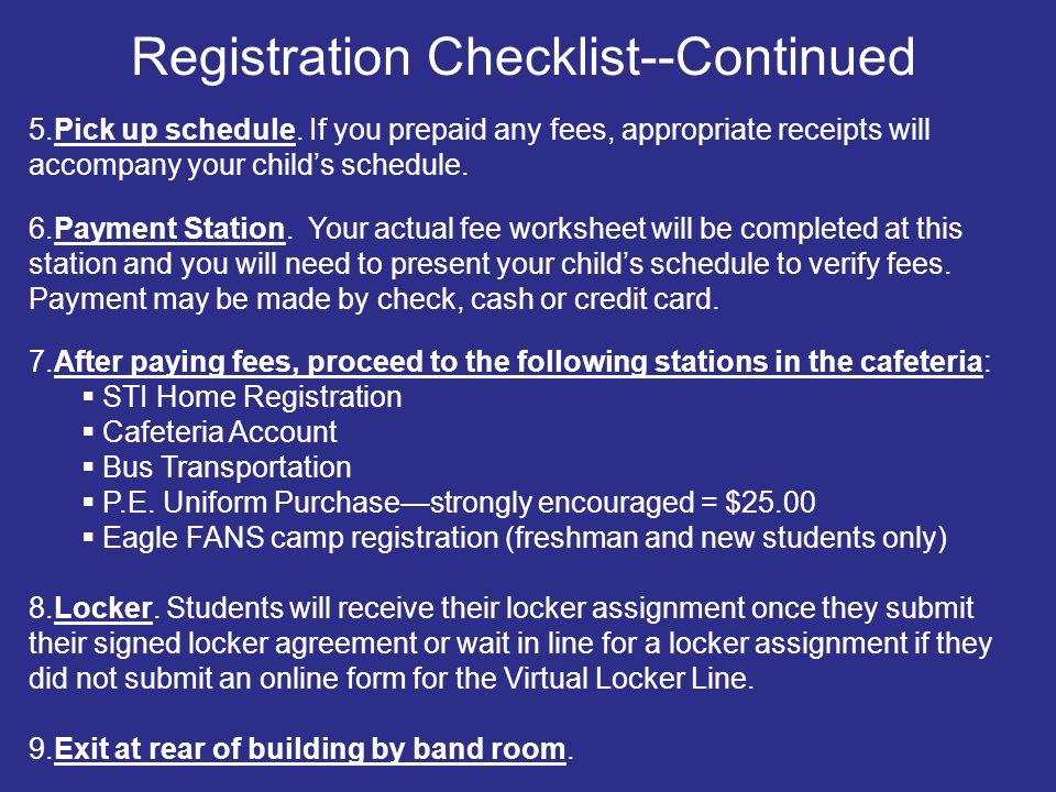 Registration Checklist--Continued