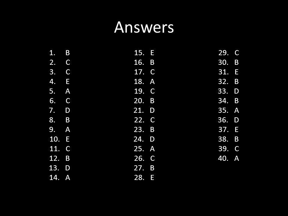 Answers B C E A D