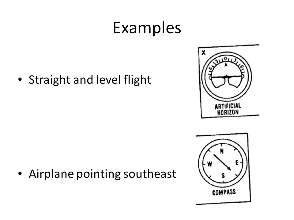 Examples Straight and level flight Airplane pointing southeast