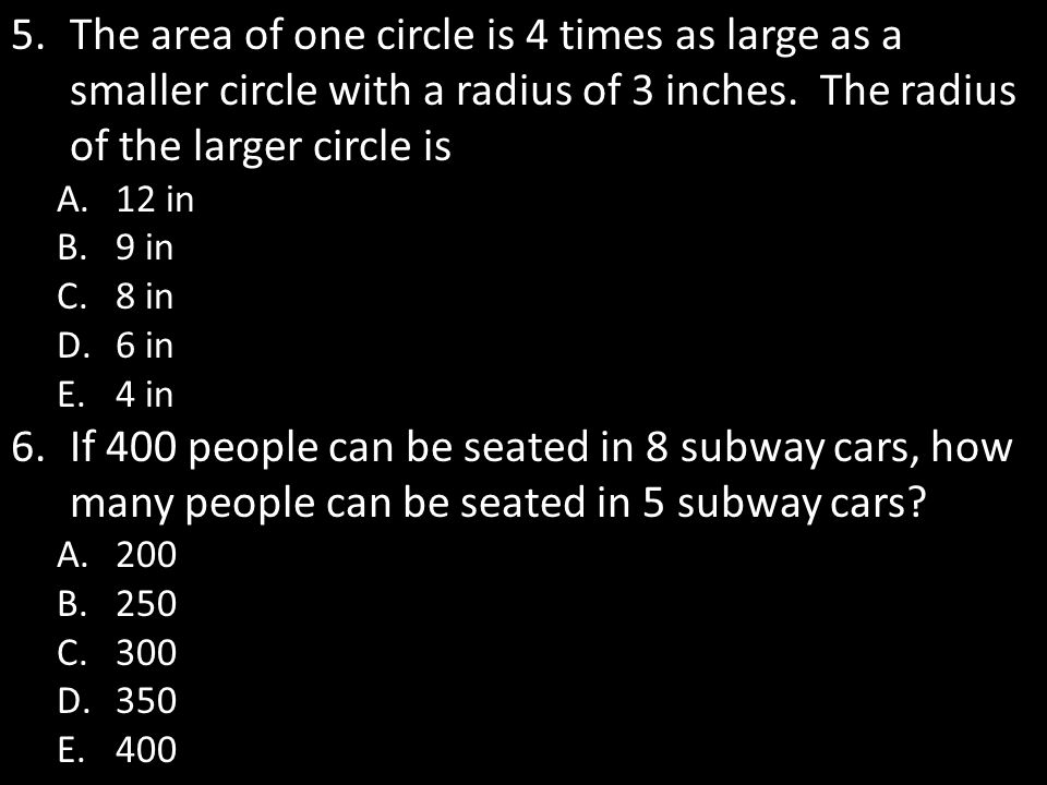 The area of one circle is 4 times as large as a smaller circle with a radius of 3 inches. The radius of the larger circle is