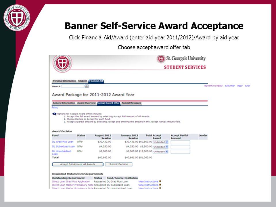 Banner Self-Service Award Acceptance