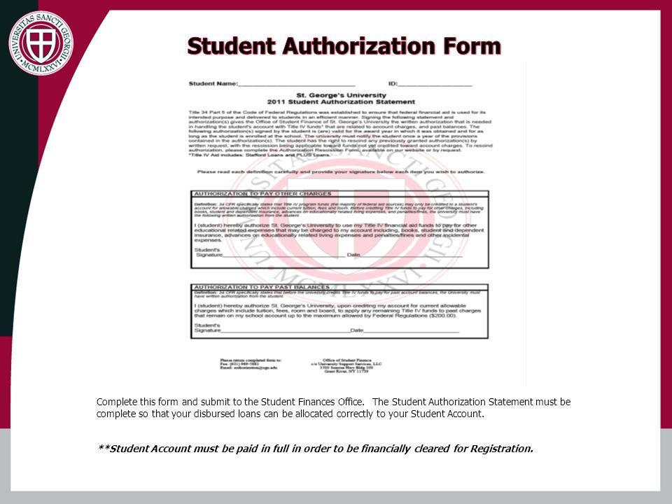 Student Authorization Form