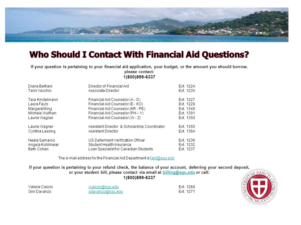 Who Should I Contact With Financial Aid Questions
