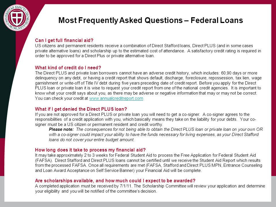 Most Frequently Asked Questions – Federal Loans