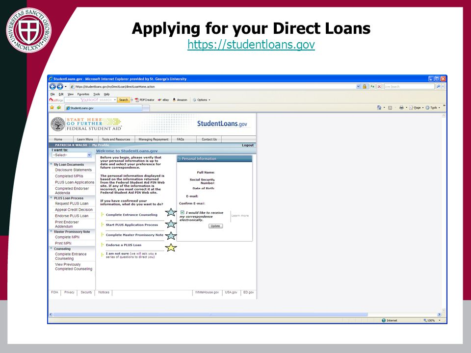 Applying for your Direct Loans