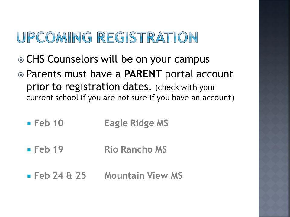 Upcoming Registration