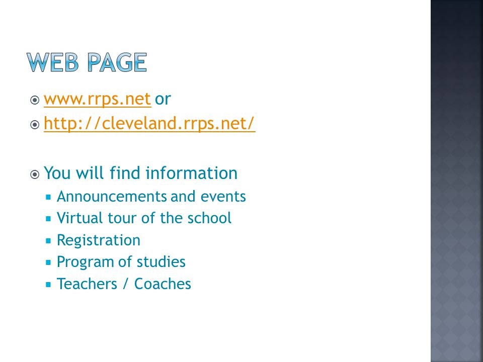 Web Page www.rrps.net or http://cleveland.rrps.net/