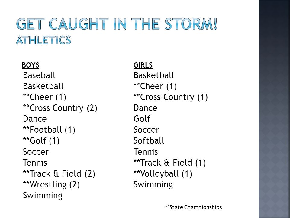 Get caught in the storm! athletics