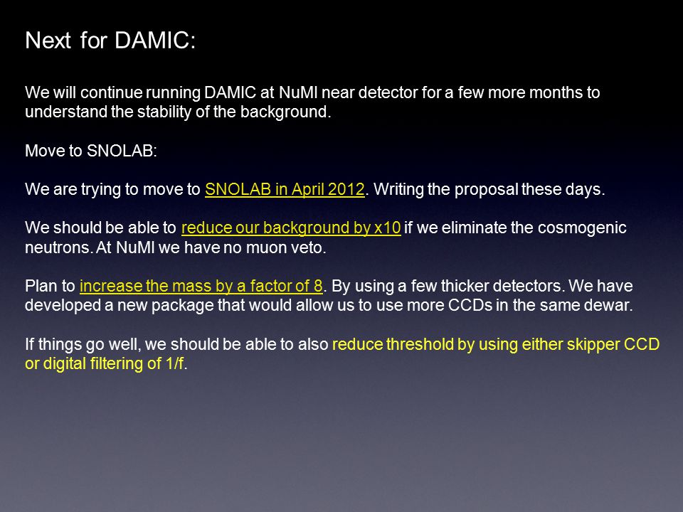 Next for DAMIC: We will continue running DAMIC at NuMI near detector for a few more months to understand the stability of the background.
