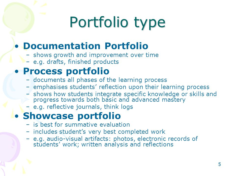 Portfolio type Documentation Portfolio Process portfolio