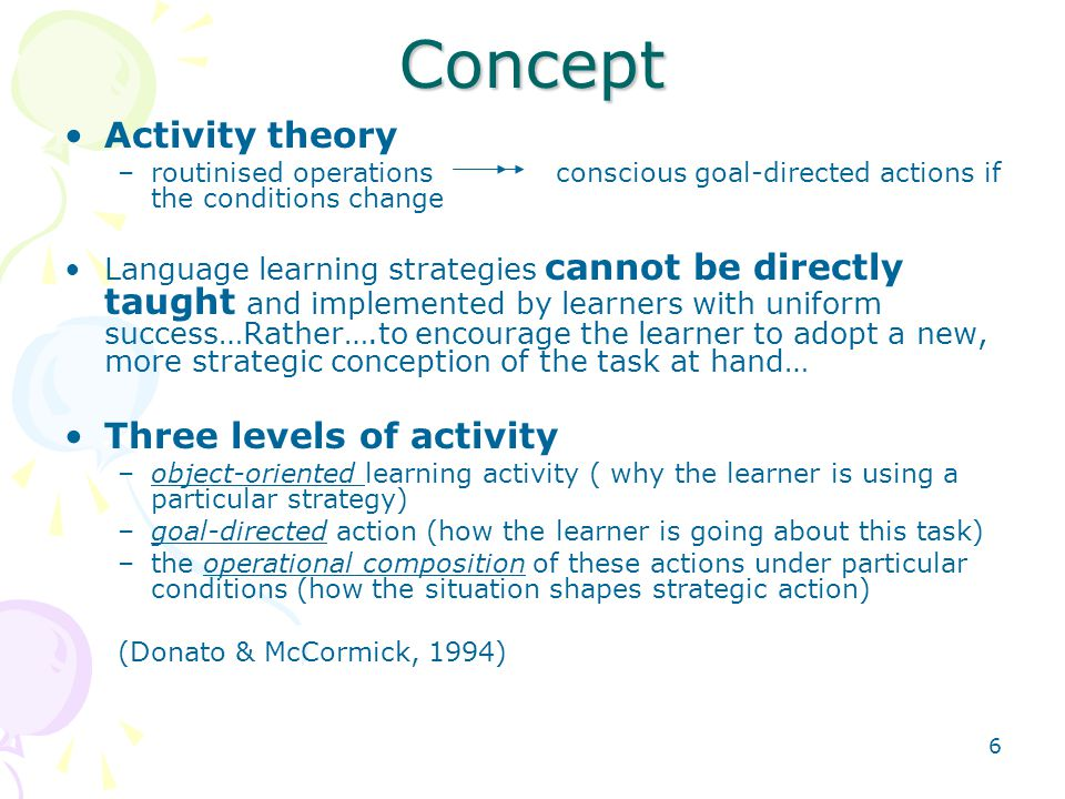 Concept Activity theory Three levels of activity