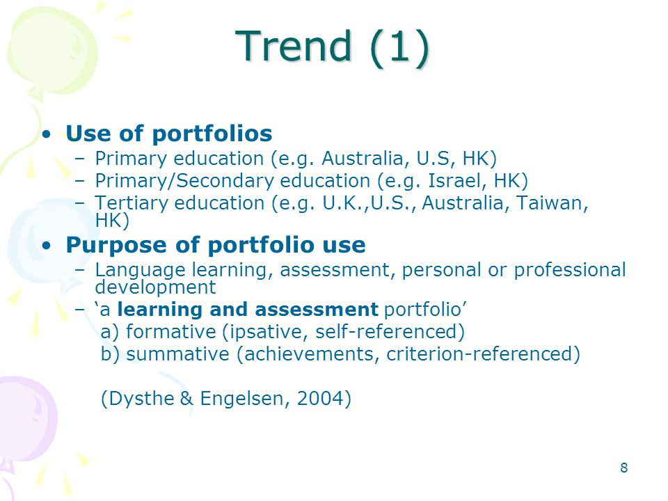 Trend (1) Use of portfolios Purpose of portfolio use
