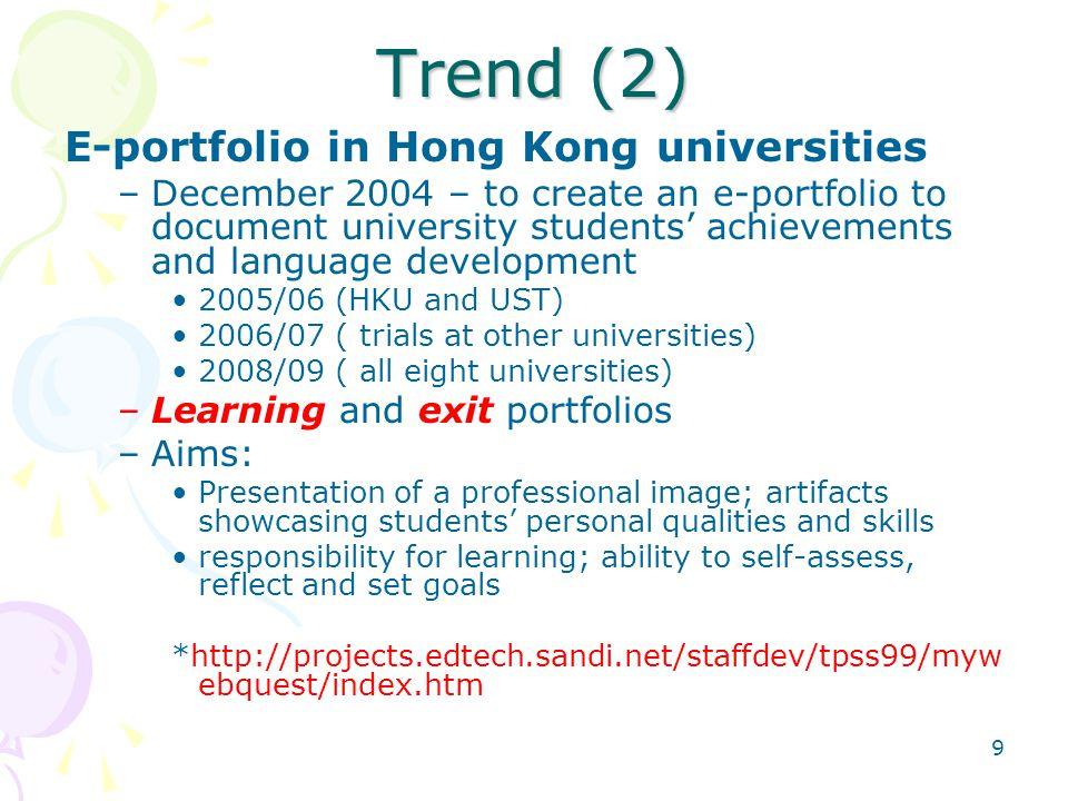 Trend (2) E-portfolio in Hong Kong universities