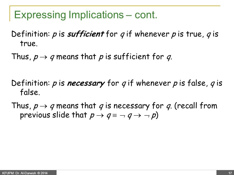 Expressing Implications – cont.