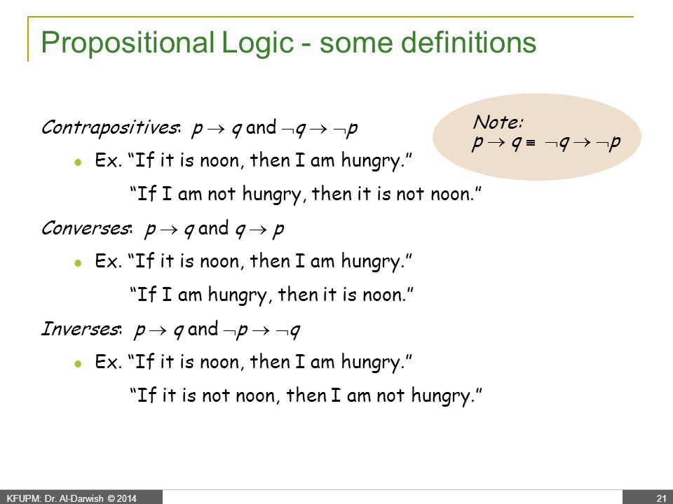 Propositional Logic - more definitions…