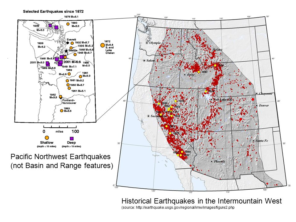 Pacific Northwest Earthquakes (not Basin and Range features)