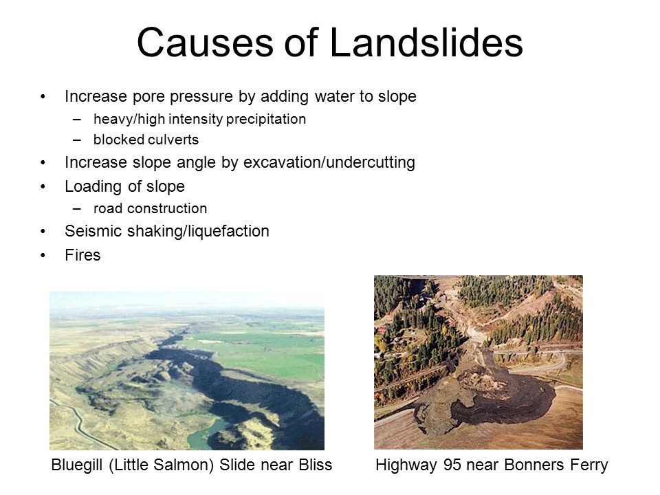 Causes of Landslides Increase pore pressure by adding water to slope