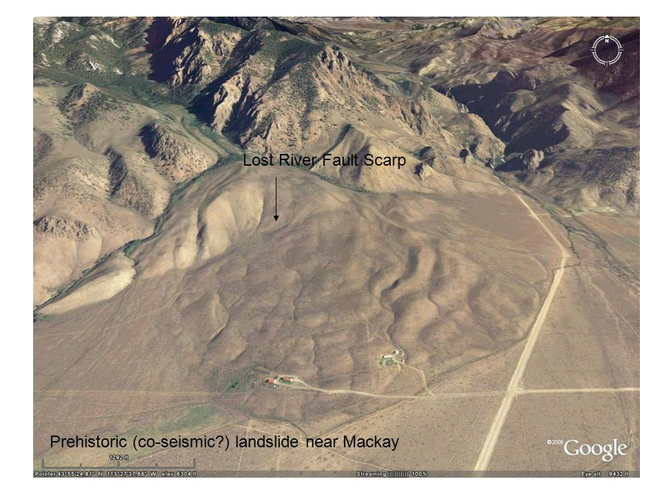 Lost River Fault Scarp Prehistoric (co-seismic ) landslide near Mackay