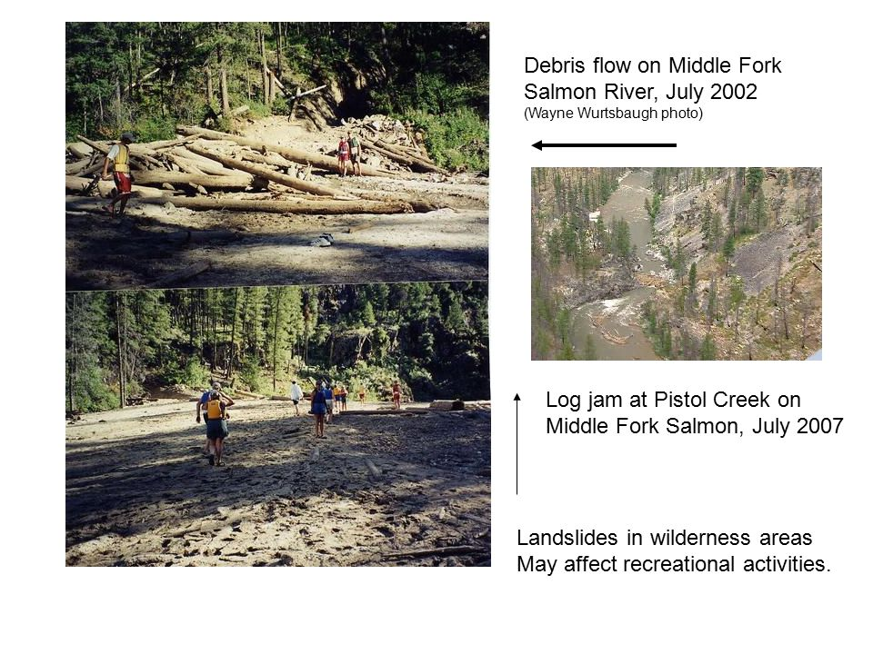 Debris flow on Middle Fork Salmon River, July 2002