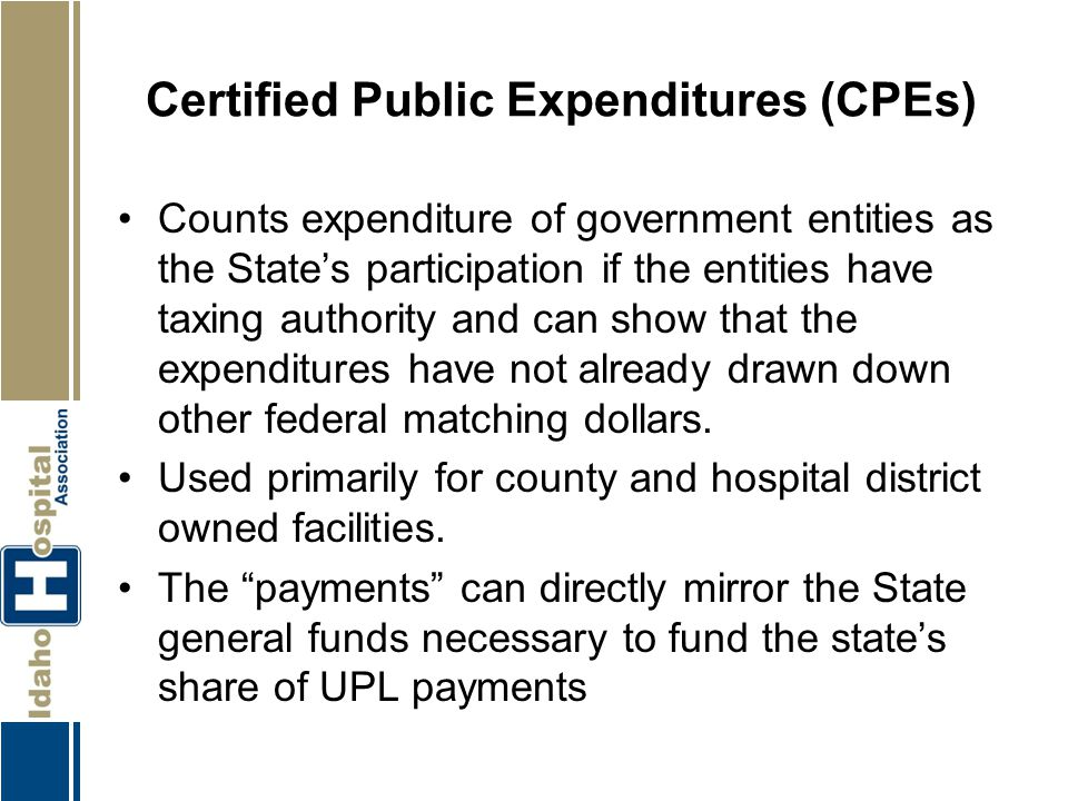 Certified Public Expenditures (CPEs)